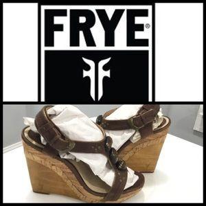 FRYE Bridget Ornament Brown Wedges Sandals Size 8